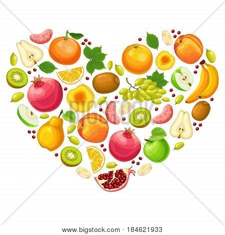 Colorful natural fruits concept with apple orange banana pear peach pomegranate kiwi grapes tangerine in heart shape vector illustration