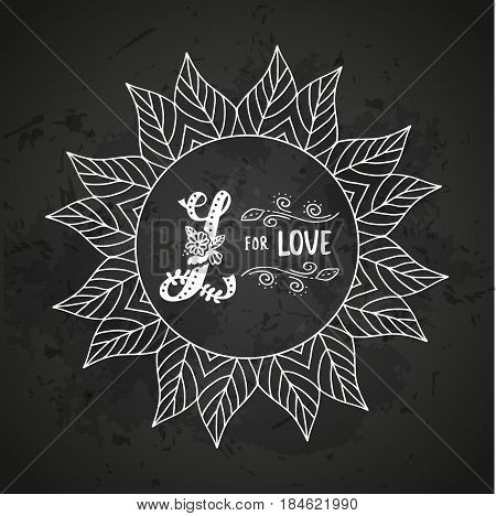 L for love. Hand drawn flourished capital letter L and decoration elements. Vector art. Great choice for Valentine's Day romantic greeting card or wedding design collection.