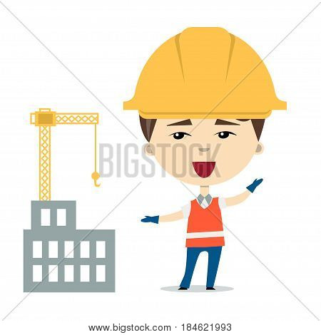 Flatvector illustration of funny cartoon worker or constructor wearing hardhats and safety vest near the building under construction. Isolated on white. Design element for ads, web or children book