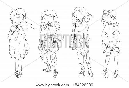 Vector set with lovely cute fashion girls in oversized sweaters and cardigan. Hand drawn illustration drawn with black stroke on white background. Stylish fashion women characters in different poses.