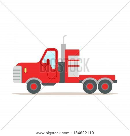 Red cargo truck colorful cartoon vector Illustration isolated on a white background