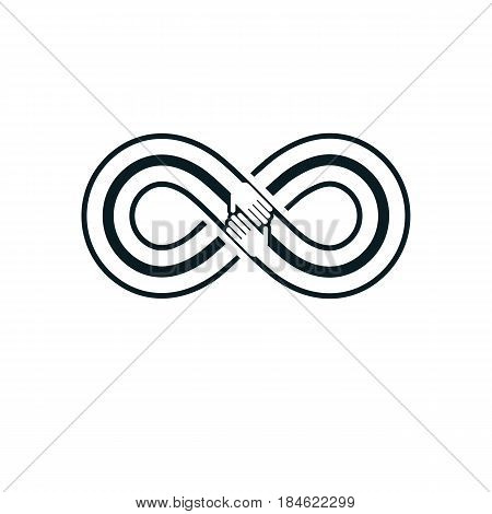 Friends Forever everlasting friendship beautiful vector logo combined with two symbols of eternity loop and human hands.