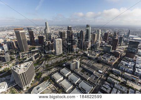 Los Angeles, California, USA - April 12, 2017:  Aerial view of downtown Los Angeles in Southern California.