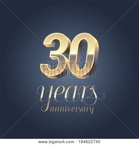 30th anniversary vector icon logo. Gold color graphic design element for 30 years anniversary birthday banner
