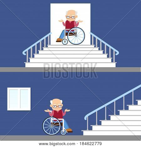 Set of vector illustration of difficulties of access for people with disability. Senior man in a wheelchair near the stairs  Flat design. Problem of barrier free environment for physically challenged people.
