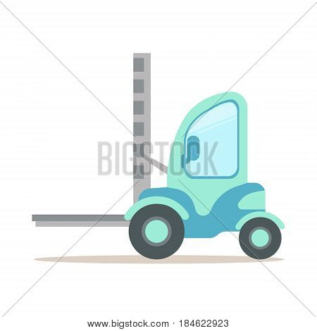 Light blue forklift truck, warehouse and logistics equipment colorful cartoon vector Illustration isolated on a white background