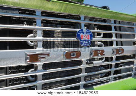 Ford Bronco Emblem On Display