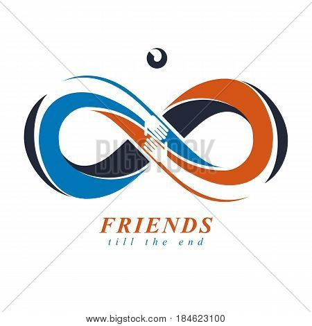 Everlasting Friendship forever friends creative vector symbol isolated on white.