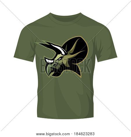 Furious dinosaur sport club vector logo concept isolated on khaki t-shirt mockup. Modern professional team badge mascot design. Premium quality wild reptile t-shirt tee print illustration. Savage monster icon.
