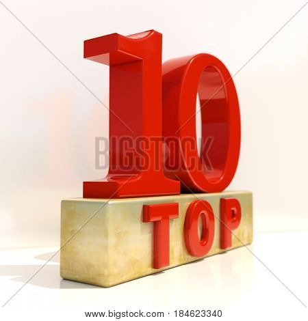 3d render: Realistic 3d Letters Top 10, 3D Style Rating Sign, Review