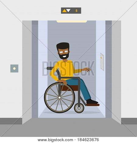 Young man in a wheelchair using elevator. Vector illustration. Flat style. Concept for barrier free environment for physically challenged people.