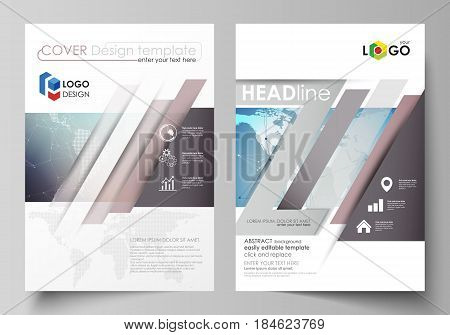 The vector illustration of the editable layout of two A4 format modern covers design templates for brochure, magazine, flyer, report. Polygonal geometric linear texture. Global network, dig data concept.