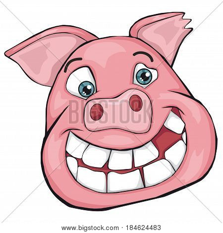 Pig's head. Cartoon style. Isolated image on white background. Clip art for children.
