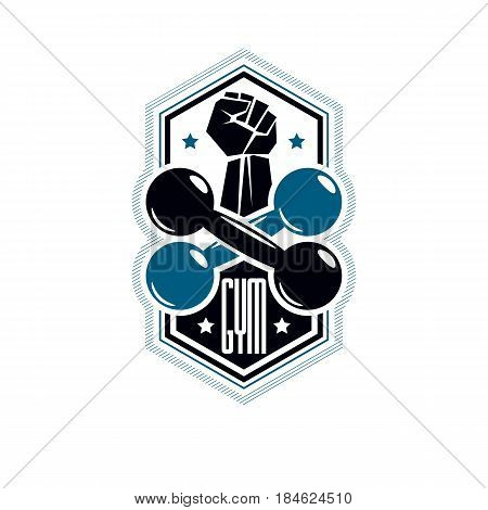 Logotype for heavyweight gym or fitness sport gymnasium vintage style vector emblem. With barbell and strong hand fist.