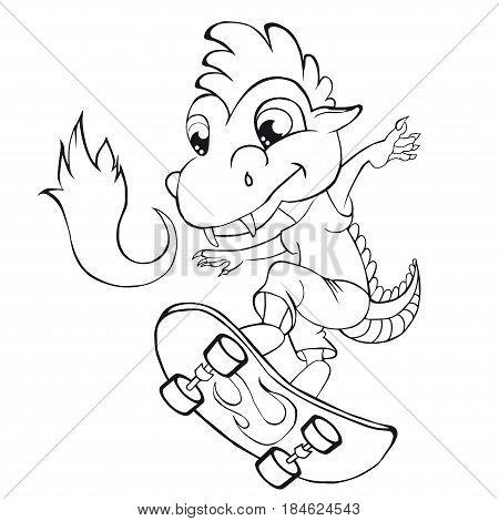 Coloring book  dragon skater. Cartoon style. Clip art for children.