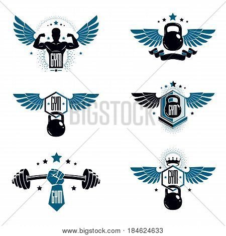 Fitness and heavyweight gym sport club logotype templates retro style vector emblems set.