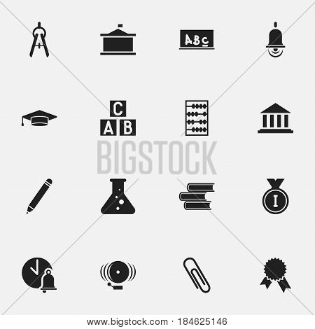 Set Of 16 Editable School Icons. Includes Symbols Such As Ring, Math Tool, Chemistry And More. Can Be Used For Web, Mobile, UI And Infographic Design.