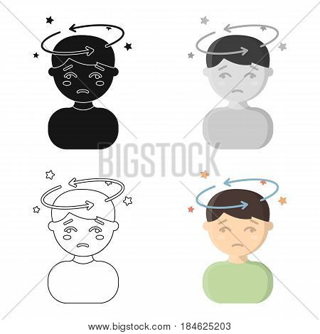 Dizziness icon cartoon. Single sick icon from the big ill, disease cartoon stock vector