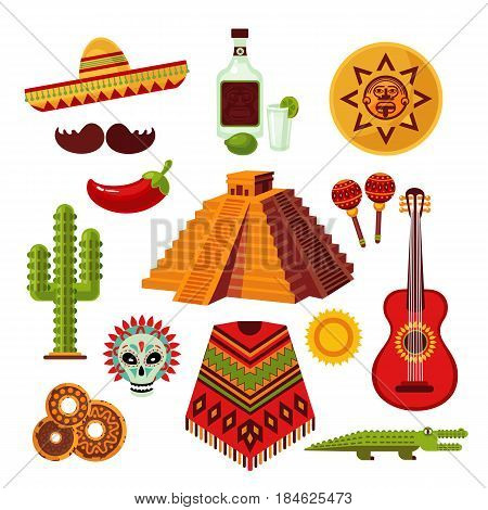 Mexico icons set with sombrero tequila chili pepper mustache pyramid cactus crocodile poncho guitar maracas antique items isolated vector illustration