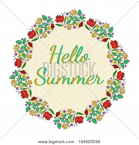 Hello Summer Card, beautiful floral card with hello summer text