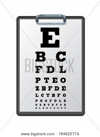 Clipboard with a sheet of white paper with Snellen eye chart. Vector illustration