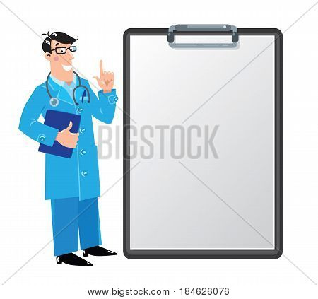 Funny man doctor in white coat with stethoscope, raised index finger up, on dark-green background with clipboard for prescription. Design template background