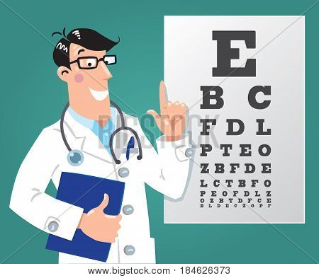 Funny man doctor optician in white coat with stethoscope, raised index finger up, on dark-green background with Snellen eye chart. Design template background