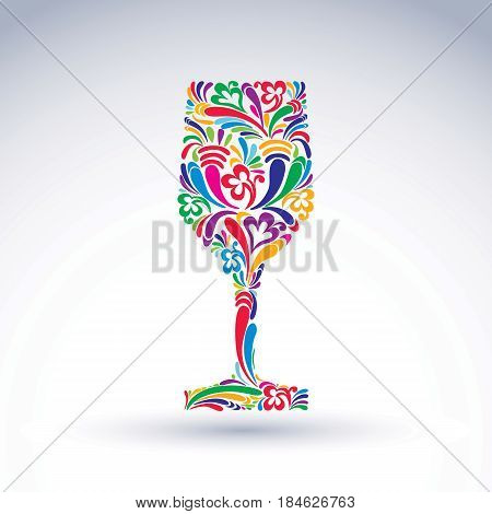 Fantasy decoration art design goblet with bright flower-patterned filling. Alcohol idea vector illustration creative glass of wine vector graphic element.