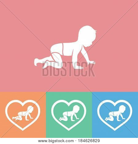 Set of baby silhouette in heart, vector illustration