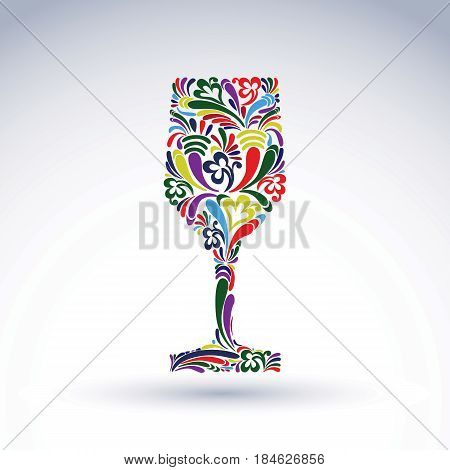 Fantasy decoration art design goblet with bright flower-patterned filling. Alcohol idea vector illustration creative glass of wine graphic element.