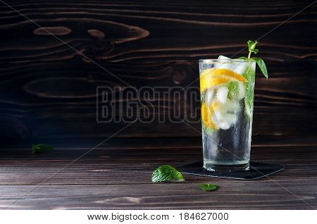 Cold Lemonade With Ice With Copyspace