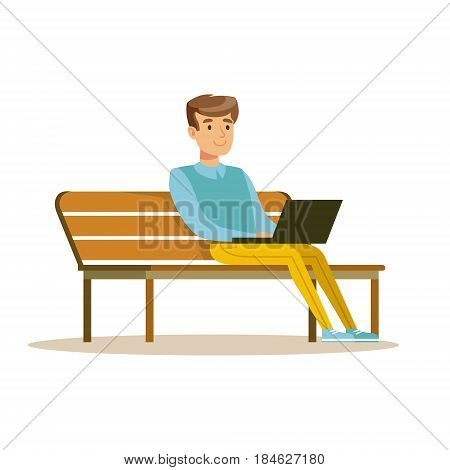 Young man sitting on a bench and working with laptop. Colorful character vector Illustration isolated on a white background