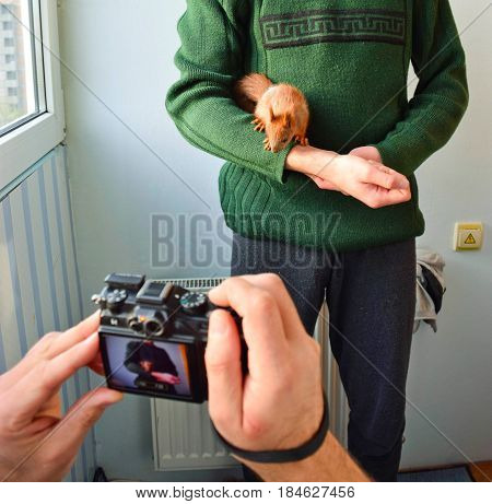 Photoshoot of the handy baby pet squirrel.