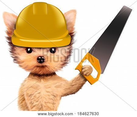 Funny dog in yellow hard hat with saw isolated on white background. Concepts for web banners, web sites. Fixing computer and repair center concept with cute dog. 3D illustration with clipping path