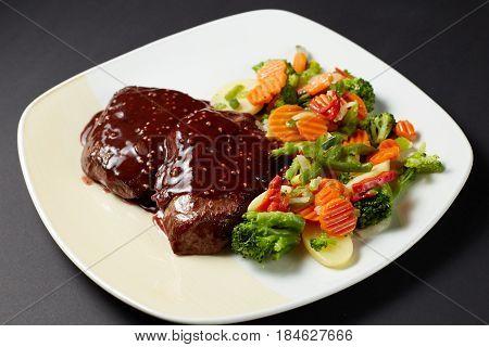 Beef In Wine-mustard Sauce. Italian Style. Italian Food. Italian Cuisine.