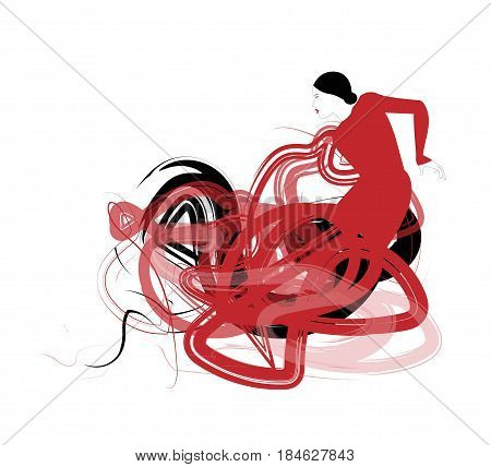 Abstract flamenco dancer silhouette on white background