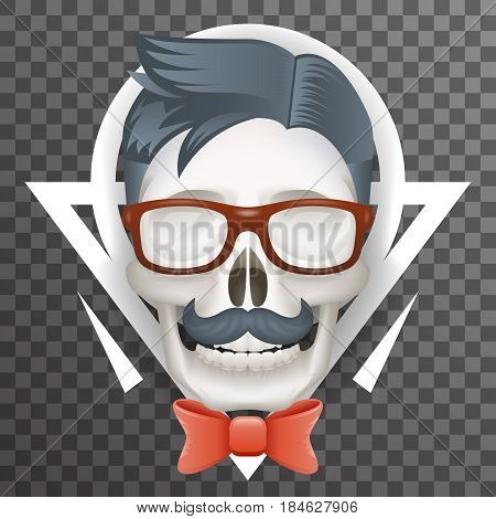 Human Skull geek Hipster Fashion Poster Mustache Bow Glasses Realistic 3d Poster Transparent Background Icon Mockup Template Design Vector Illustration