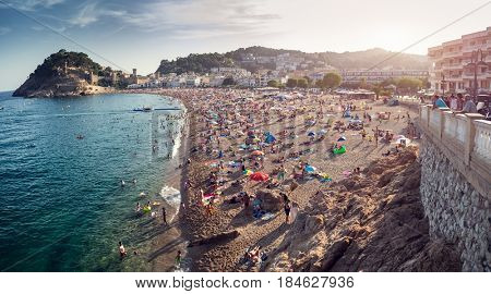 TOSSA DE MAR, AUG. 19, 2016: Central beach of the city of Tossa de Mar