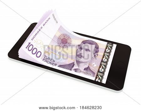 Mobile payment money transfer with smart phone Norwegian krone. 3d rendered illustration.