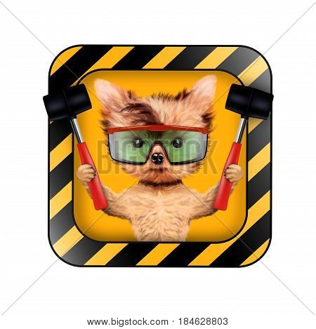 Funny dog with warning icon and holding tools isolated on white. Concepts for web banners, web sites. Fixing computer and repair center concept with cute dog. 3D illustration with clipping path