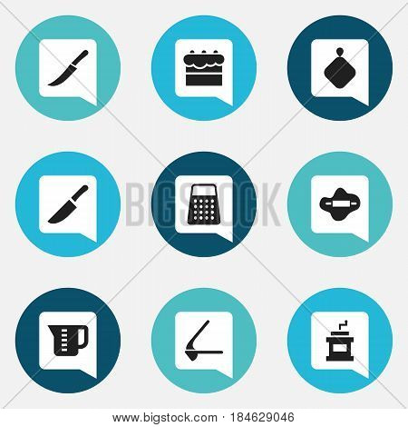 Set Of 9 Editable Cooking Icons. Includes Symbols Such As Sword, Dough, Mocha Grinder And More. Can Be Used For Web, Mobile, UI And Infographic Design.
