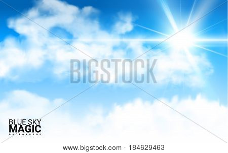 Sky with clouds. Effect Realistic Design Elements. Vector Illustration Modern Blue Background.