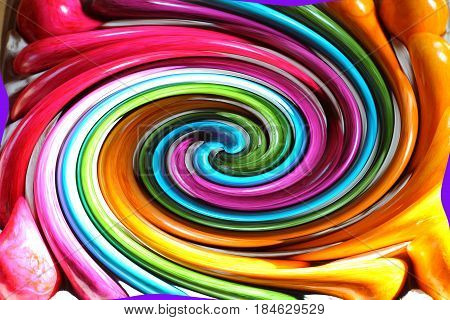 Distorted picture of rainbow colors. Abstract  rippled swirl background. Colorful fusion spectrum.