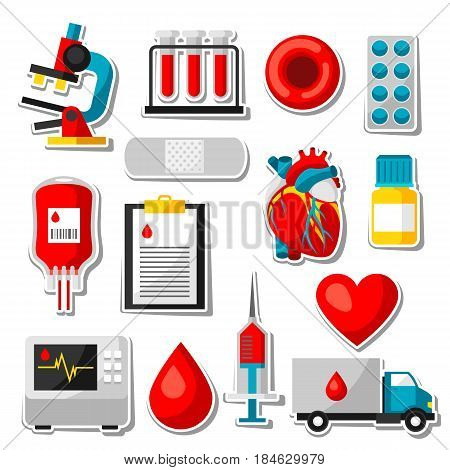 Set of blood donation items. Medical and health care sticker objects.