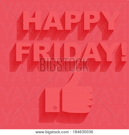 Happy Friday letters on colorful background. Vector