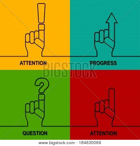 Attention, progress, question sign icon. Set of symbol in background. Vector hand.