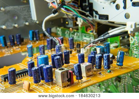 Electronics printed circuit board printed conductor detail