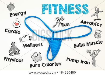 Fitness concept. G-String lingerie isolated on white background.