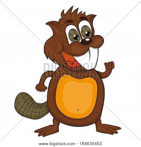 Cartoon beaver.  Vector clip art for children.