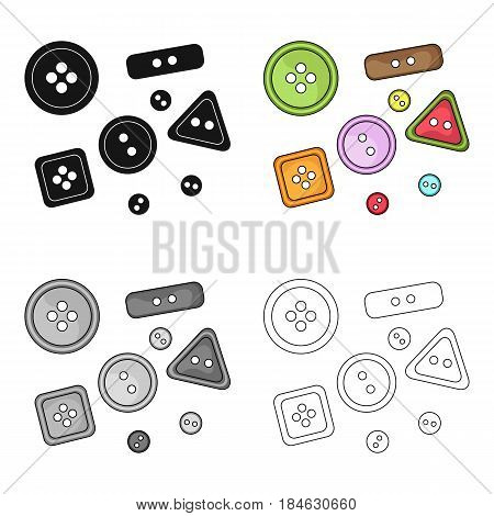 Buttons for clothes.Sewing or tailoring tools kit single icon in cartoon style vector symbol stock web illustration.